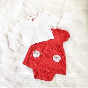 Carter's Red Santa Dress with White Cardigan